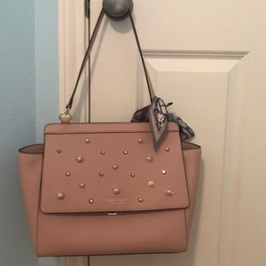 Henri Bendel Pearl and Studded Satchel Purse